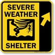 Severe Weather Shelter Upper Right Arrow Sign