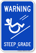 Steep Grade, Wheelchair Rolling Down Sign