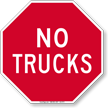 Stop, No Trucks Sign