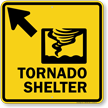 Tornado Shelter Upper Left Arrow Sign