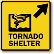 Tornado Shelter Upper Right Arrow Sign