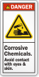 Corrosive Chemicals Avoid Contact With Eyes, Skin Label
