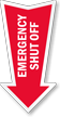Emergency Shut Off Arrow Safety Label