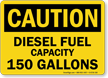 150 Gallons Diesel Fuel Capacity OSHA Caution Sign