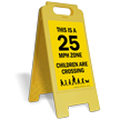 25 Mph Zone Children Crossing Floor Sign