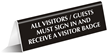 Visitors Sign In Office Tabletop Tent Sign
