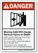 ANSI Danger Moving Gate Sign