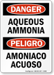 Bilingual Aqueous Ammonia Amoniaco Acuoso Sign