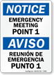 Bilingual Emergency Meeting Point 1 Sign