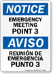 Bilingual Emergency Meeting Point 3 Sign