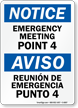 Bilingual Emergency Meeting Point 4 Sign