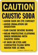Caution Caustic Soda Avoid Contact Sign