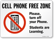 Cell Phone Free Zone Sign