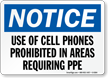Cell Phones Prohibited In Areas Requiring PPE Sign