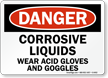 Danger Corrosive Liquids Acid Gloves Goggles Sign