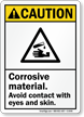 Corrosive Material Avoid Contact With Eyes-Skin Sign