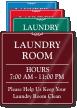 Custom Laundry Room Hours Showcase Wall Sign