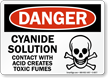 Cyanide Solution Acid Creates Toxic Fumes Sign