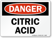 OSHA Danger Citric Acid Sign