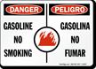 Danger No Smoking Bilingual Sign