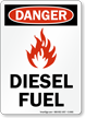Danger Diesel Fuel (with graphic) Sign