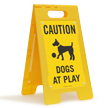 Dogs At Play Caution Standing Floor Sign