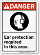 Ear Protection Required In This Area Danger Sign