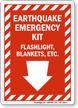 Earthquake Emergency Kit Down Arrow Sign