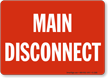 Main Disconnect Sign