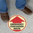 Emergency Evacuation Route with Arrow Sign