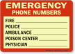 Emergency Phone Numbers Glow Sign