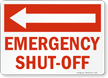 Emergency Shut Off Sign