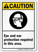 Eye and Ear Protection Required In Area Sign