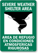 Severe Weather Shelter Area Bilingual Sign