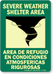 Severe Weather Shelter Area Bilingual Glow Sign