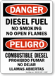 Danger Diesel Fuel No Smoking Sign
