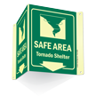 Glow-in-Dark Safe Area Tornado Shelter Sign