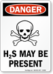Danger H2S Present Sign