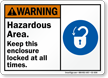 Hazardous Area Keep Enclosure Locked Sign