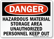 Danger Hazardous Material Authorized Personnel Sign
