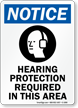 Notice (ANSI) Hearing Protection Required Sign