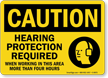 Hearing Protection Required When Working OSHA Caution Sign
