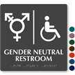 Handicap Gender Neutral Symbol Restroom Braille Sign