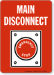 Main Disconnect Emergency Stop Sign