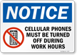 Cellular Phones must be turned off Sign