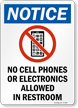 No Cell Phones Or Electronics Allowed Sign