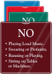 No Playing Loud Music Sign