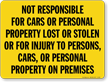 Not Responsible Cars Personal Property Sign