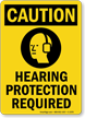 Caution (ANSI): Hearing Protection Required Sign