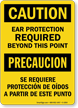 Bilingual Ear Protection Required Sign, Caution / Precaucion